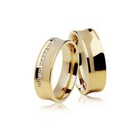 Aliança de Ouro 18k - Casamento e Noivado Concava
