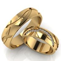 Aliança em Ouro 18k Cravejada com Brilhantes