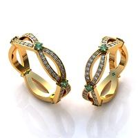 Aliança de Casamento com Diamantes e Esmeraldas