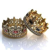 Aliança de Casamento Coroa Princess Com Diamantes, Rubi e Safira