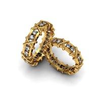 Aliança de Casamento - com Diamantes Ouro 18k 750