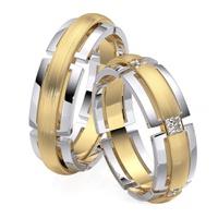 Aliança em Ouro 18k Vazada com Diamantes