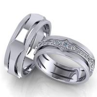 Aliança de Casamento e Bodas - com Diamantes - Ouro 18k