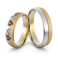 Aliança em Ouro 18k Corações com Diamantes e Rubis