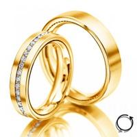 Aliança de Casamento em Ouro 18k Cravejada com Diamantes