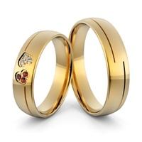 Aliança em Ouro 18k com Coração Cravejado de Diamantes e Rubis