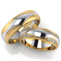 Aliança de Casamento - Bodas de Prata Ouro 18k
