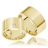 Aliança de Casamento 8 mm com Diamantes Princess
