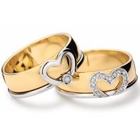 Aliança Casamento Coração e Brilhantes