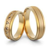 Aliança de Casamento e Noivado em Ouro 18k Coração com Diamantes