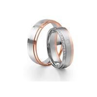 Aliança Bodas de Prata em Ouro 18k com Diamante Prince