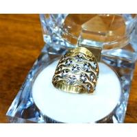 Anel em Ouro 18k Amarelo e Branco Diamantado
