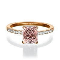 Anel Morganita Aro Cravejado com Diamantes