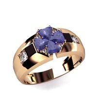 Anel de Formatura em Ouro 18k - Diamantes e Pedra Natural