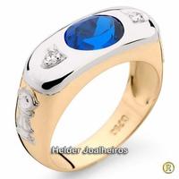 Anel de Formatura Agronomia Masculino com Safira Azul