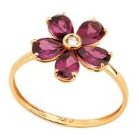 Anel em Ouro Amarelo 18k Margarida Granada com Diamantes