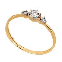 Anel Solitário - Ouro 18k Com Diamantes