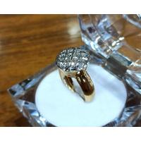 Anel em Ouro 18k Amarelo e Branco com Diamantes