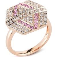 Anel Hexagon Cravejado c/ Diamantes e Turmalina Rosa