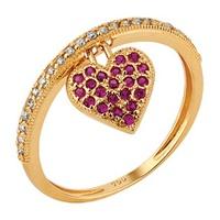 Anel Ouro 18k Aro Cravejado c/ Diamantes e Coração Rubi