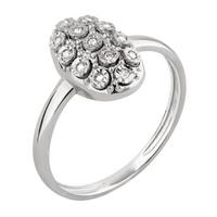 Anel em Ouro Branco 18k Oval com Diamantes