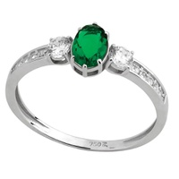 Anel Princesa Oval Zircônia Verde