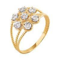 Anel em Ouro Amarelo 18k Aro Torcido com Diamantes