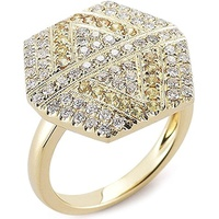 Anel Hexagon Cravejado c/ Diamantes