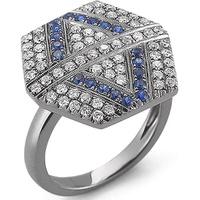 Anel Hexagon Cravejado c/ Diamantes e Safira Azul