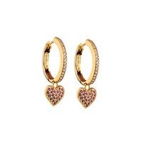 Brinco em Ouro Amarelo 18k Argola com Coração Diamantes e Rubi