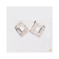 Brinco Ouro Branco 18k com Diamantes