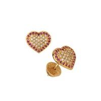 Brinco em Ouro Amarelo 18k 750 Coração com Brilhantes e Rubi