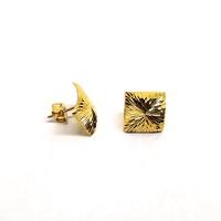 Brinco em Ouro 18k Quadrado Diamantado