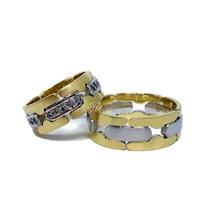 Aliança Bodas e Casamento - Ouro 18k - Brilhantes