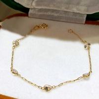 Pulseira em Ouro 18k 750 Infantil Cartier Corações com Pedras