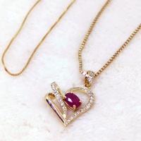 Pingente Coração Cravejado com Diamantes e Rubi