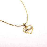 Pingente Coração Amor em Ouro 18k Amarelo e Branco