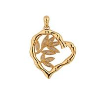 Pingente Coração Bamboo, Folhas com Diamantes