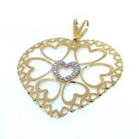 Pingente em Ouro 18k 750 Coração Trabalhado com Corações Vazado e Pedras