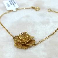 Pulseira em Ouro 18k 750 Elo Português com Flor Telada