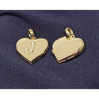 Relicário em Ouro 18k Coração com Gravação de Letra com Diamantes