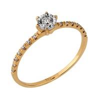 Solitário em Ouro Amarelo 18k com Diamantes