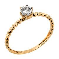 Solitário em Ouro Amarelo e Branco 18k Torcido com Diamante