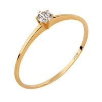 Solitário em Ouro Amarelo 18k Aro Fino com Diamantes