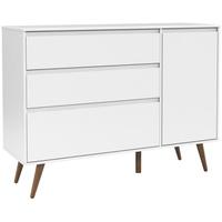 Cômoda Matic Retrô Clean 3 Gavetas com Porta Branco Soft Ecowood - Incasa Móveis