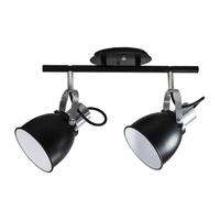 Spot para 2 Lâmpadas E27 Preto/Branco Trilho - Jabu Elétrica, Hidráulica e Iluminação