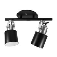 Spot para 2 Lâmpadas E27 Preto/Escovado Trilho - Jabu Elétrica, Hidráulica e Iluminação