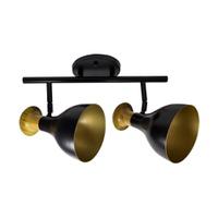 Spot para 2 Lâmpadas E27 Preto/Dourado Trilho - Jabu Elétrica, Hidráulica e Iluminação