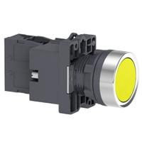 Botão 22mm Plástico Iluminado LED 24CC/CA 1NA Amar... - Jabu Elétrica, Hidráulica e Iluminação