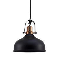 Pendente para 1 Lâmpada E27 Preto/Cobre Polido - Jabu Elétrica, Hidráulica e Iluminação